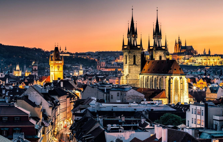 Photo wallpaper lights, the evening, Prague, Czech Republic, Prague, Nove Mesto