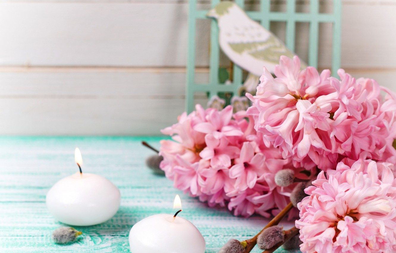 Photo wallpaper flowers, roses, bouquet, spring, candles, pink, vintage, wood, Verba, pink, flowers, romantic, spring