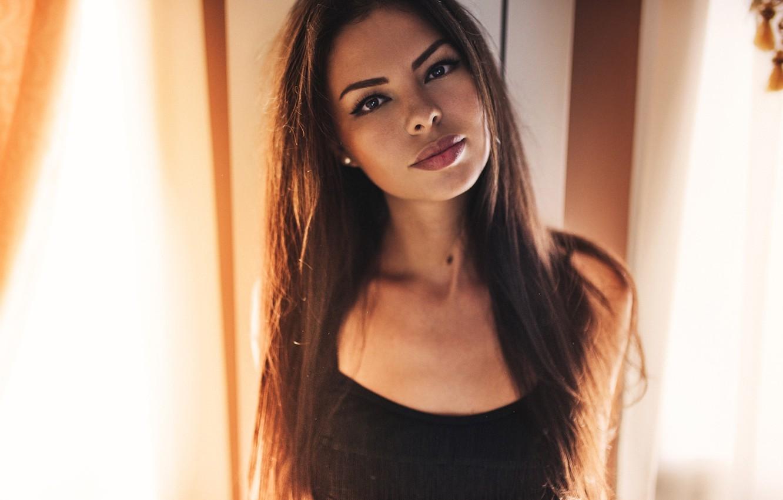 Photo wallpaper look, girl, model, portrait, makeup, hairstyle, brown hair, beautiful, in black, bokeh