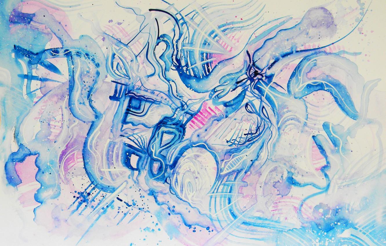 Photo wallpaper blue, pink, blue, Figure, Blizzard, Blizzard, Lena Horn, winter style