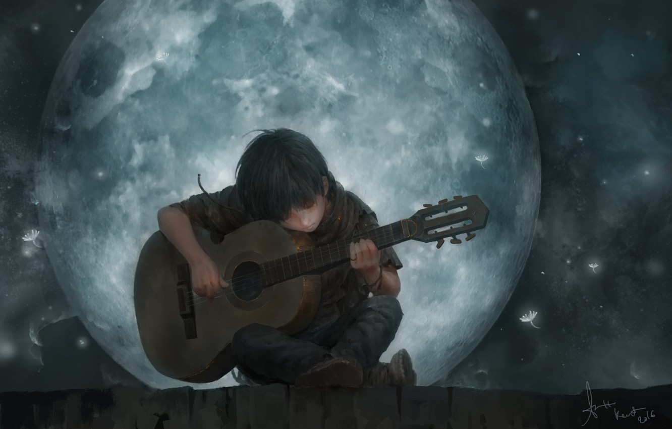 Photo wallpaper roof, mood, the moon, romance, guy, lee kent, The Song Of The Moon