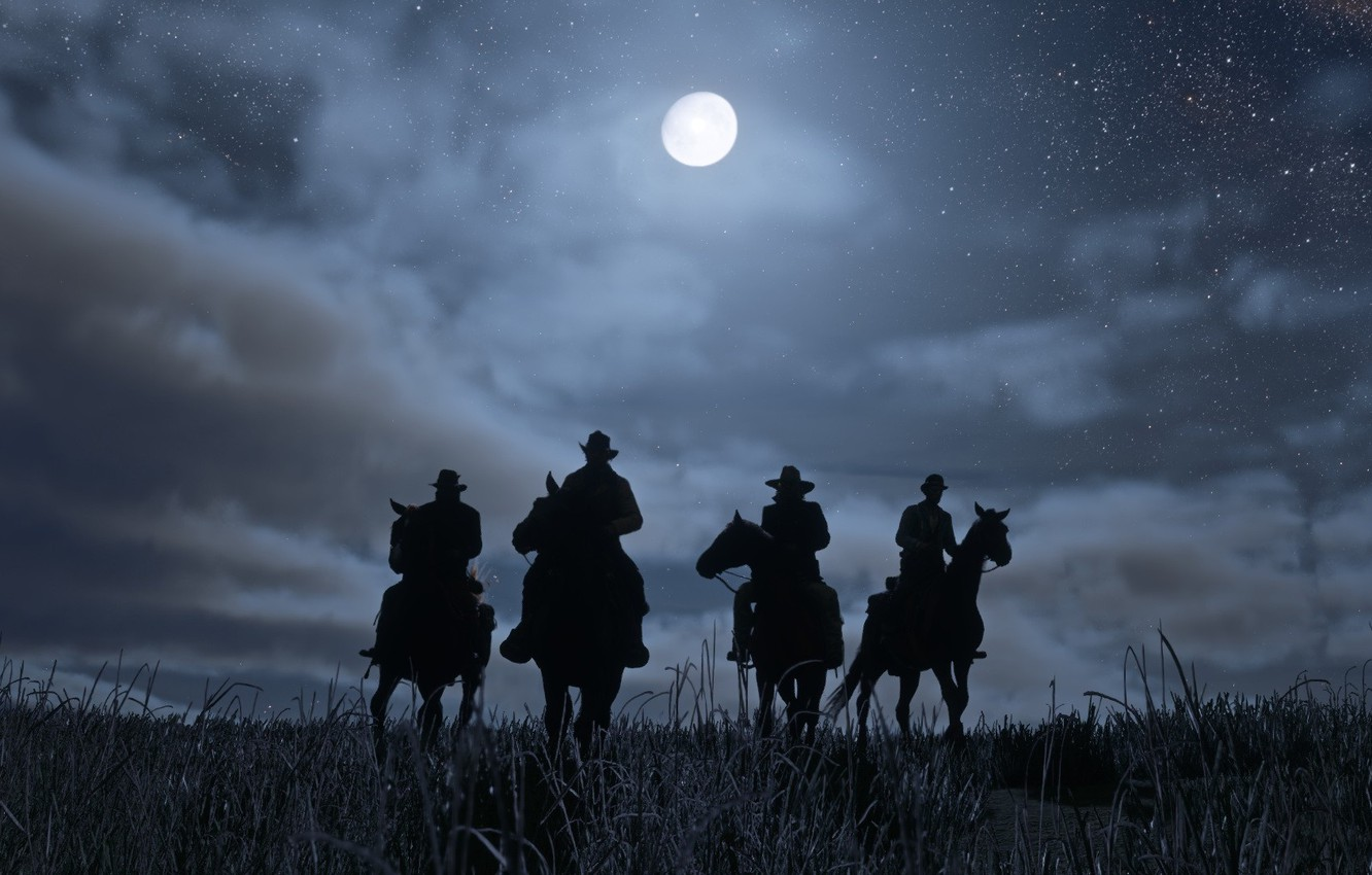 Photo wallpaper night, the moon, cowboys, Red Dead Redemption 2, wild West