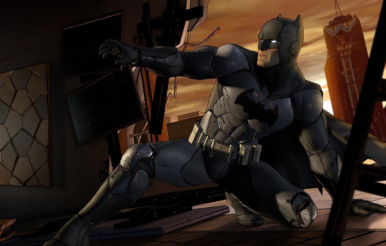 Photo wallpaper The city, The game, Batman, Costume, Building, Hero, Mask, Cloak, Superhero, Hero, Batman, Game, Bruce …