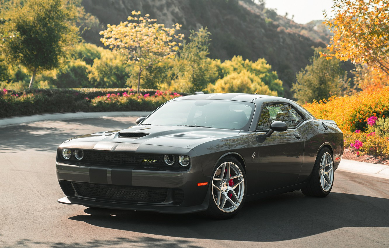 Photo wallpaper Dodge, Challenger, Hellcat, Silver, Machined