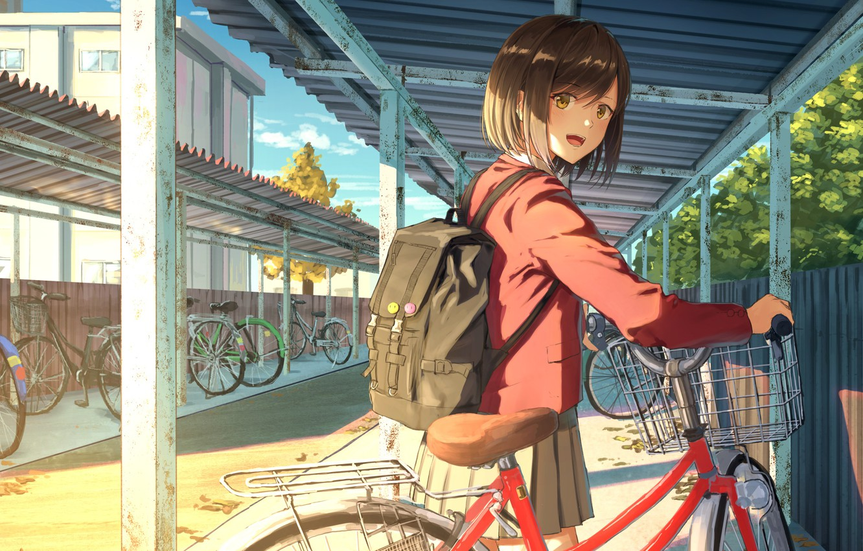 Photo wallpaper bike, girl, Parking