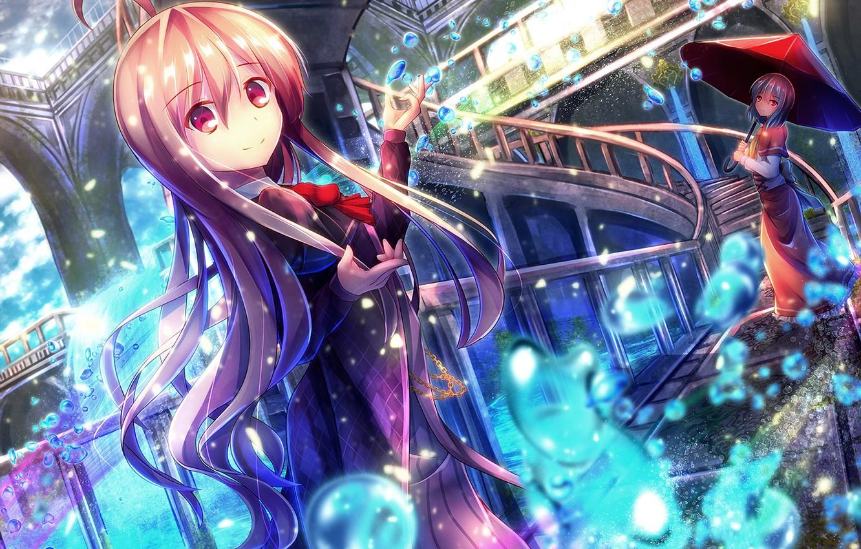 Photo wallpaper girls, umbrella, anime