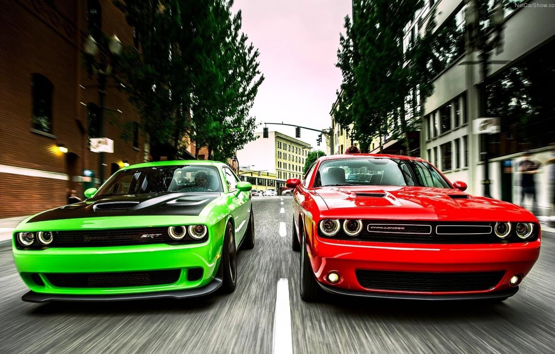 Photo wallpaper Muscle, Red, Race, Cars, Dodge Challenger, Green, Speed, Hellcat, SRT