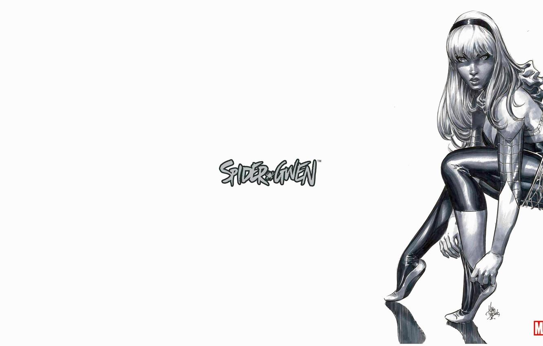 Photo wallpaper B/W, Web, Blonde, Hair, Costume, Hero, Comic, Superhero, Hero, Web, Marvel, Blonde, Comics, Gwen Stacy, …