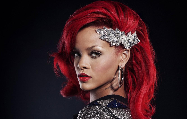 Photo wallpaper earrings, singer, Rihanna, red hair