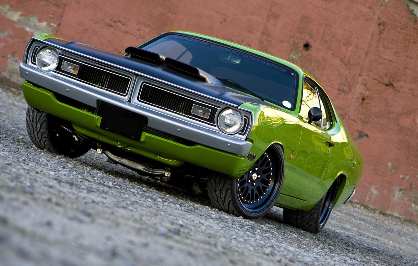 Photo wallpaper machine, power, drives, Green, the front, Tuning, Usa, Muscle Car, Plymouth Duster