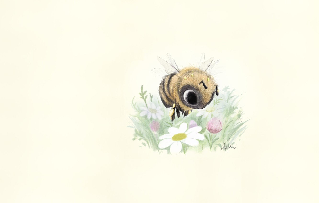 Photo wallpaper art, bee, clearing, flower, children's, Sydney Hanson