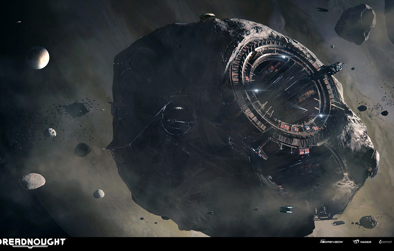 Photo wallpaper space, planet, asteroids, Asteroid, DREADNOUGHT