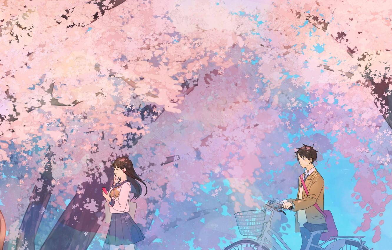 Photo wallpaper spring, Sakura, students, quic