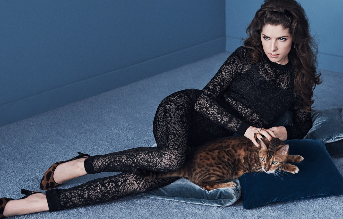 Photo wallpaper cat, pose, model, pillow, makeup, figure, actress, brunette, hairstyle, shoes, lies, on the floor, photoshoot, …