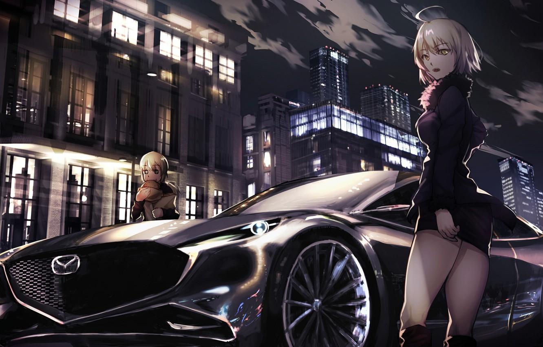 Photo wallpaper machine, auto, night, the city, girls, Fate / Grand Order