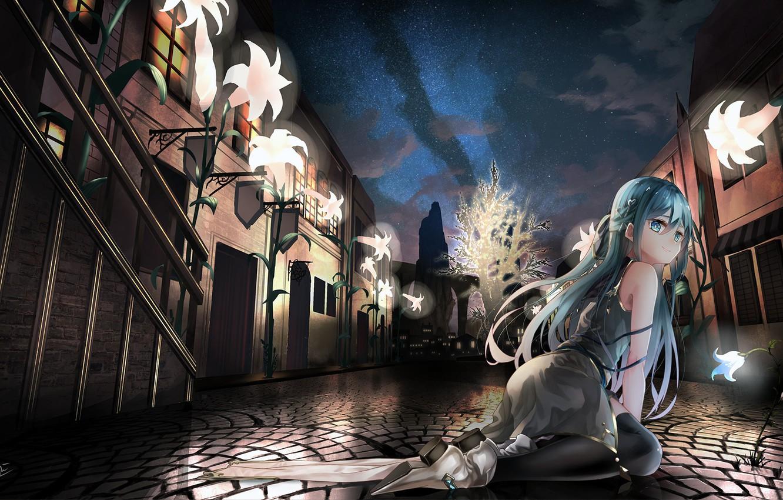 Photo wallpaper girl, flowers, the city, street, anime, art, song