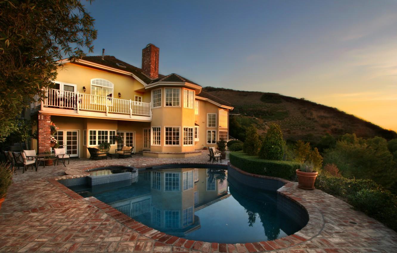 Photo wallpaper trees, sunset, design, house, Villa, pool, USA, the bushes, Laguna Beach