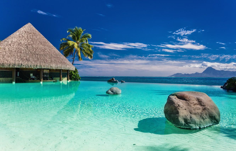 Photo wallpaper sea, beach, nature, tropics, palm trees, shore, house, blue sky