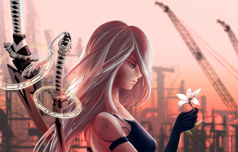 Photo wallpaper girl, sword, game, robot, flower, mecha, ken, Nier, blade, artwork, hana, bishojo, guardian, Nier Automata, …