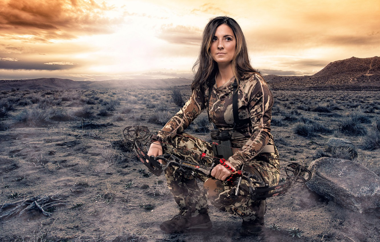 Photo wallpaper girl, bow, hunting, camouflage