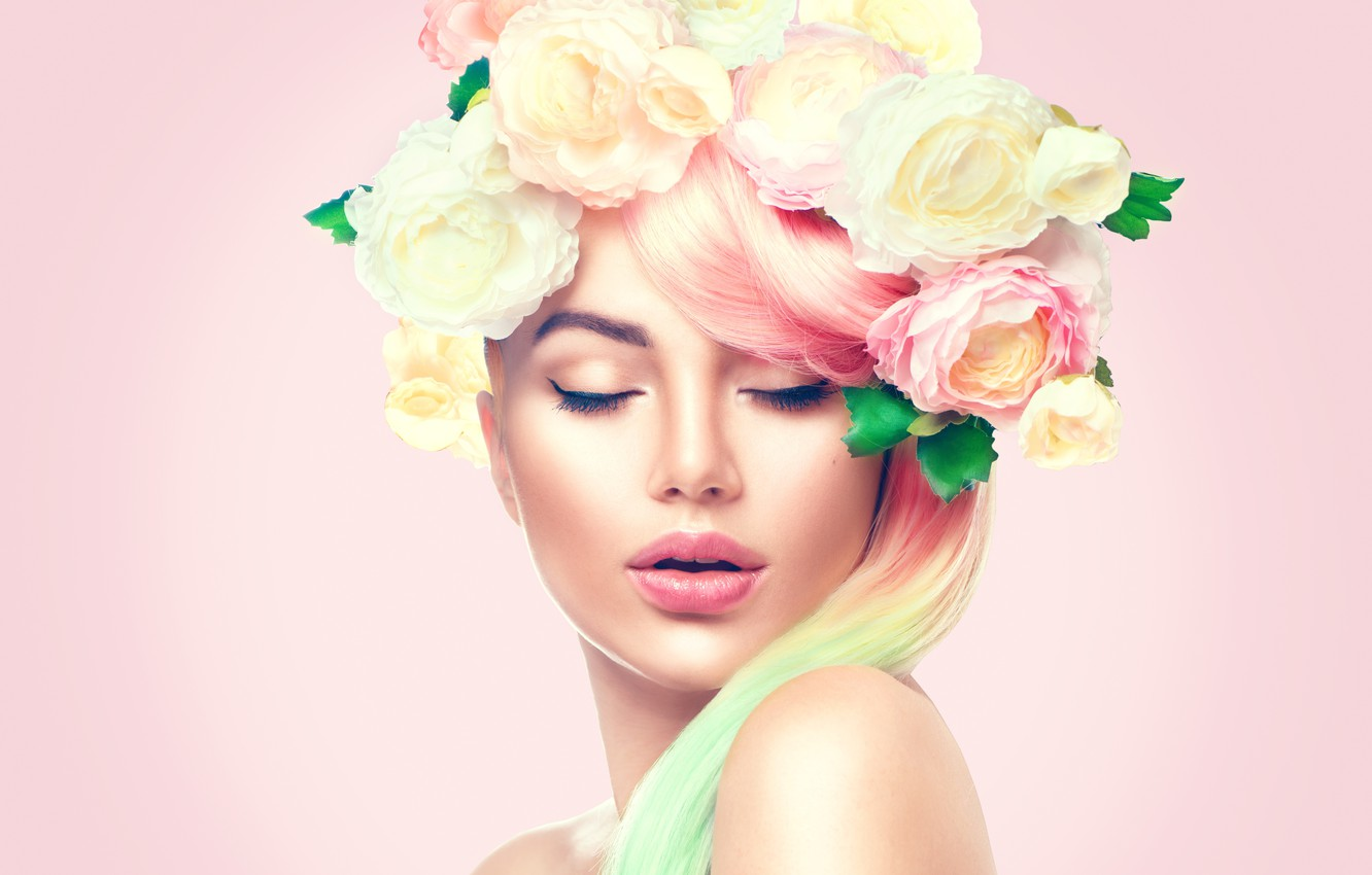 Photo wallpaper girl, face, roses, makeup, hairstyle, wreath, Anna Subbotina