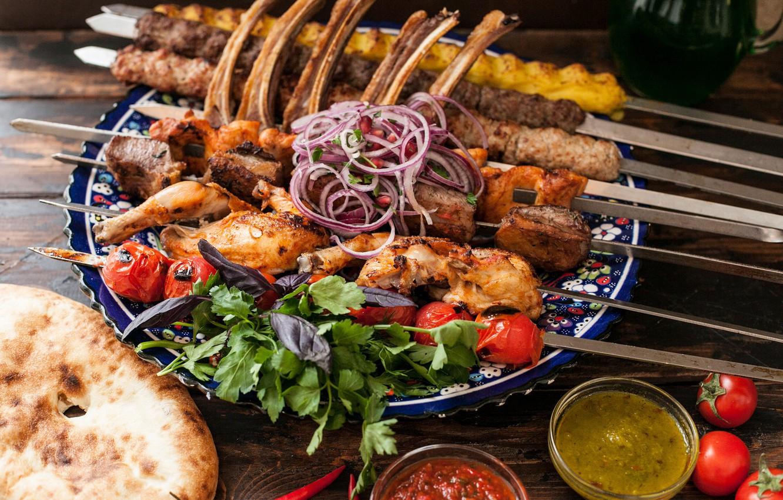 Photo wallpaper Greens, Tomatoes, Kebab, Sauce, Pita