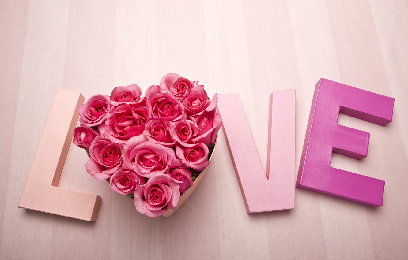 Photo wallpaper love, heart, roses, the word, Valentine's day, Valentine's day
