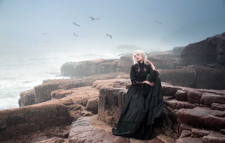 Photo wallpaper sea, girl, fog