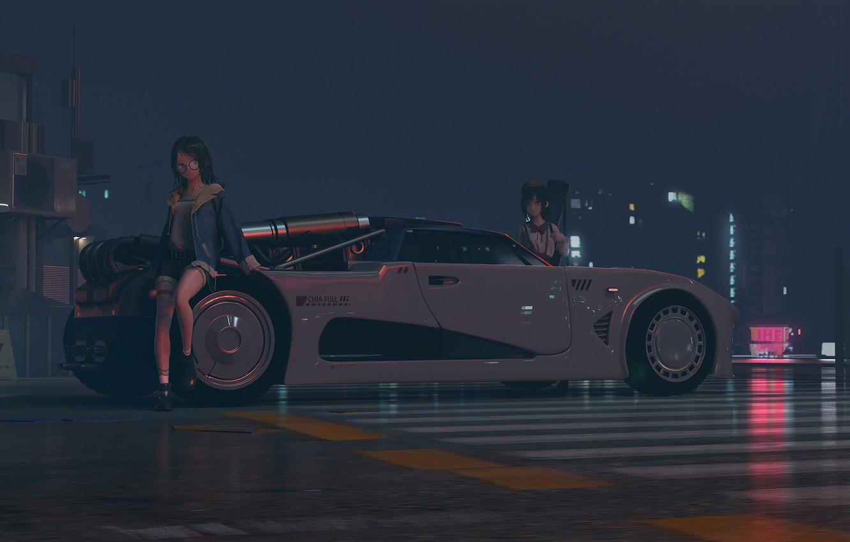 Photo wallpaper road, machine, night, girls, car
