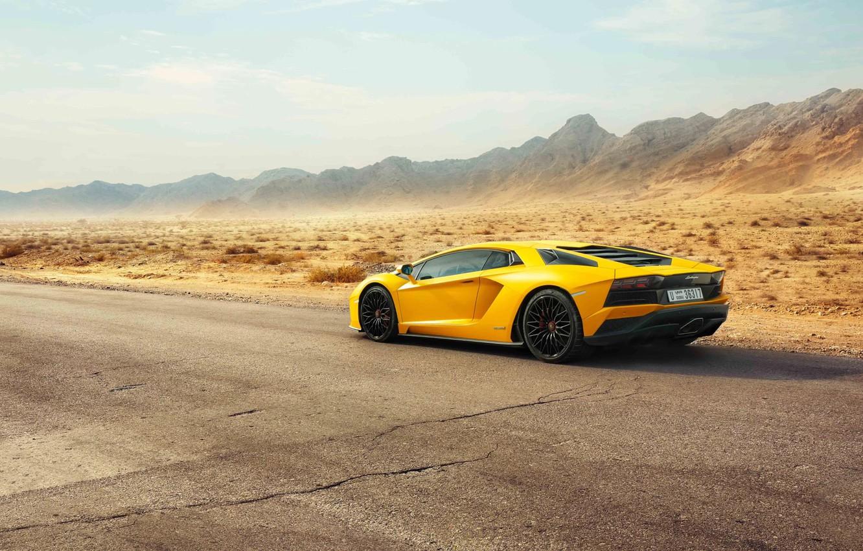 Photo wallpaper Lamborghini, Dubai, Yellow, Supercar, Rear, Aventador S