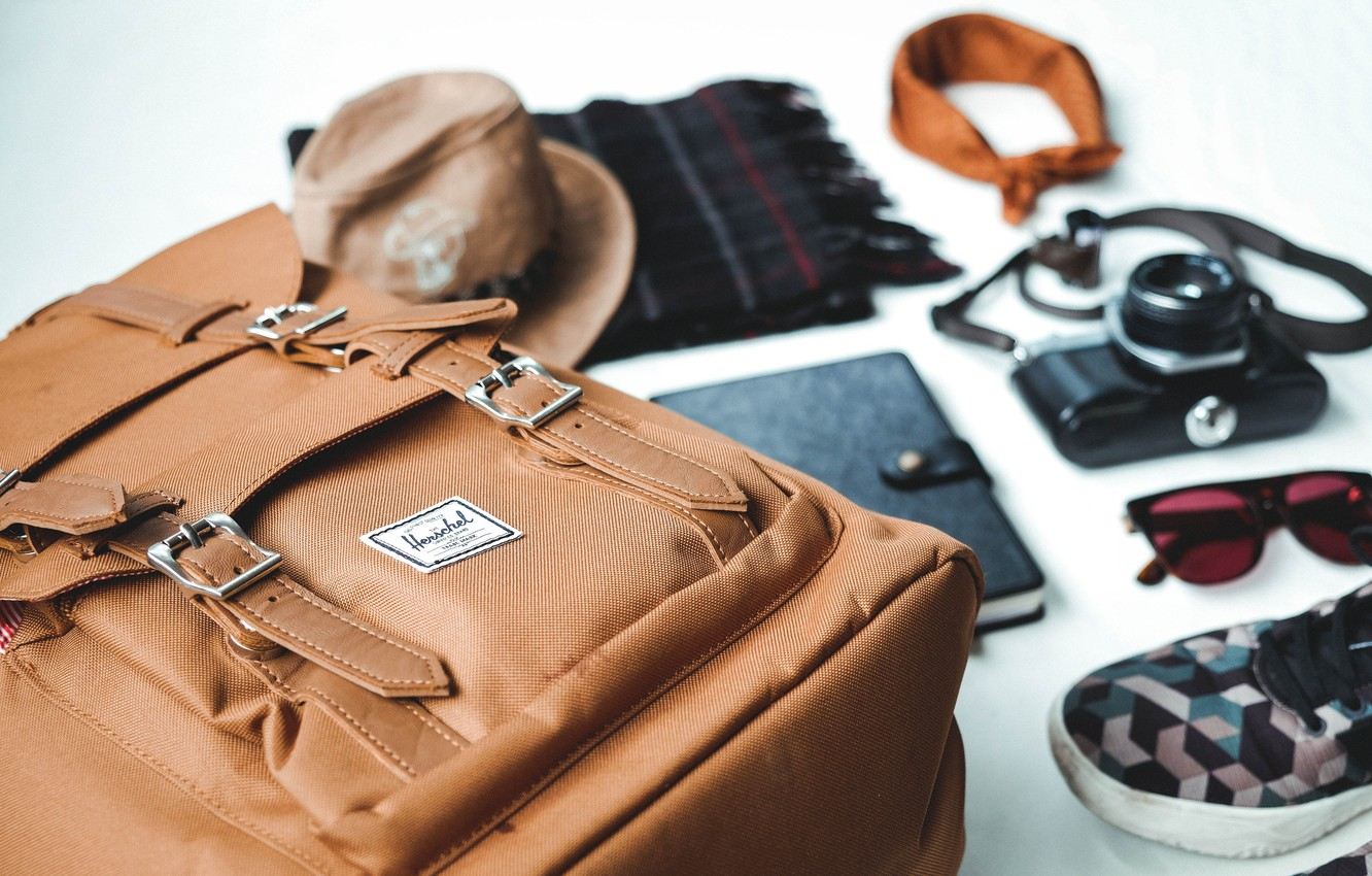 Photo wallpaper sneakers, camera, scarf, glasses, notebook, backpack, notebook, camera, diary, book, glasses, scarf, the knick, sneakers, …