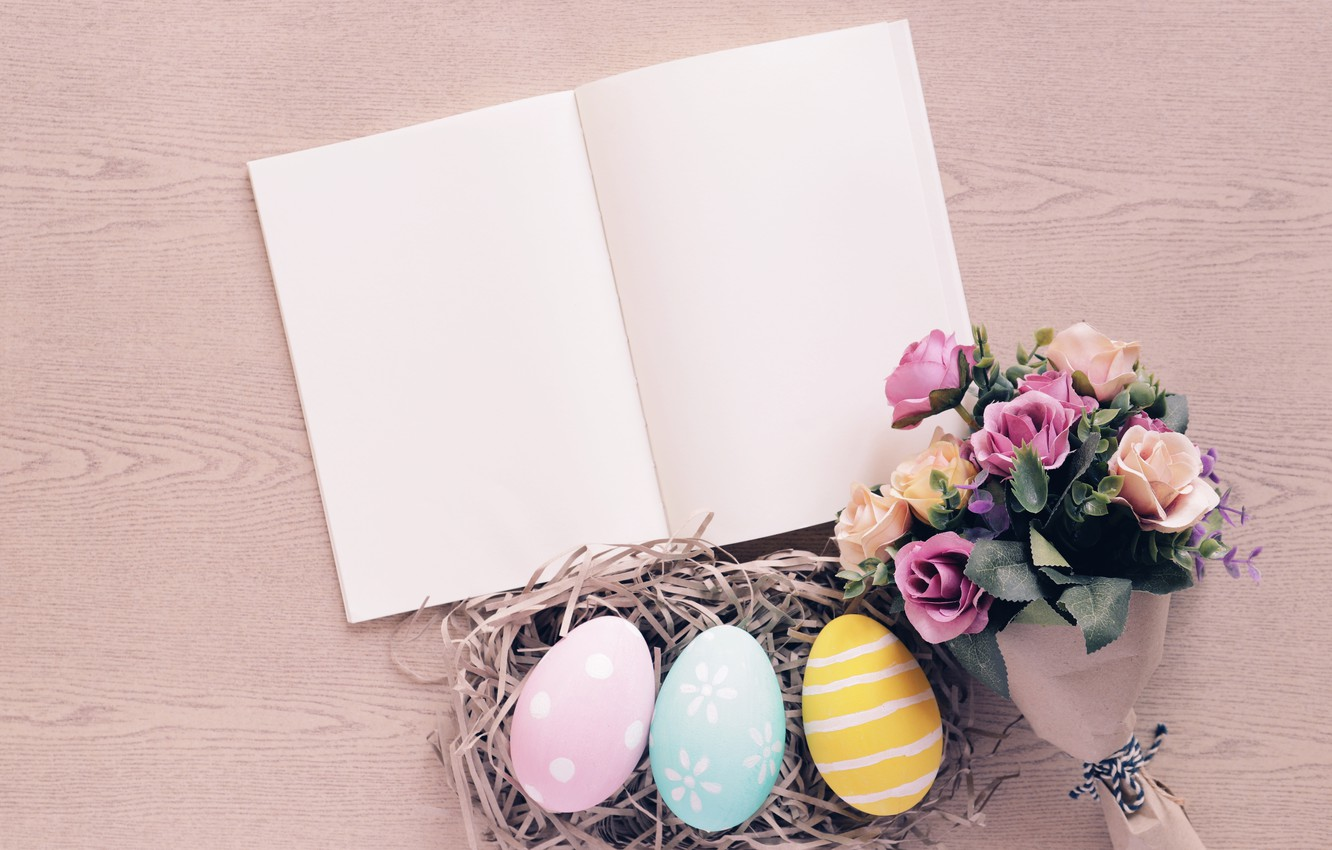 Photo wallpaper flowers, roses, eggs, spring, colorful, Easter, hay, wood, flowers, spring, Easter, eggs, roses, decoration, Happy, …