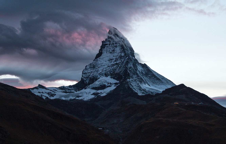 Photo wallpaper clouds, mountain, Switzerland, top, Switzerland, mountain, Matterhorn, Matterhorn