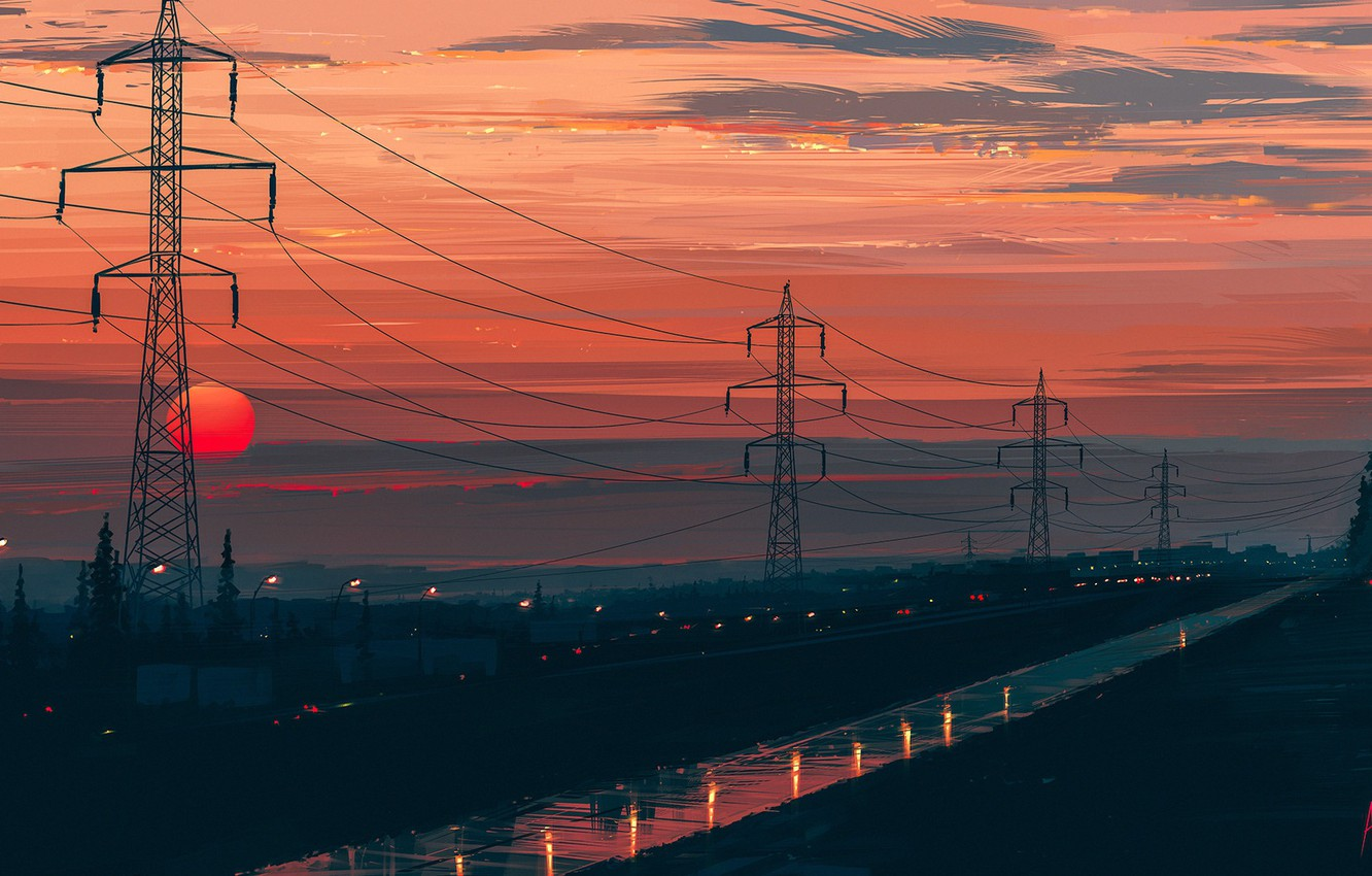 Photo wallpaper road, the sun, landscape, sunset, Aenami, Any Minute Now, the power lines, Alena Aenam The, …