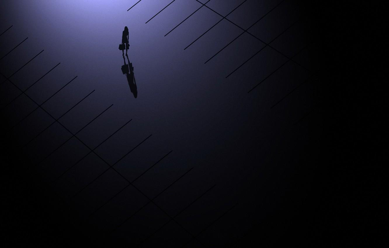 Photo wallpaper girl, silhouette, shadows