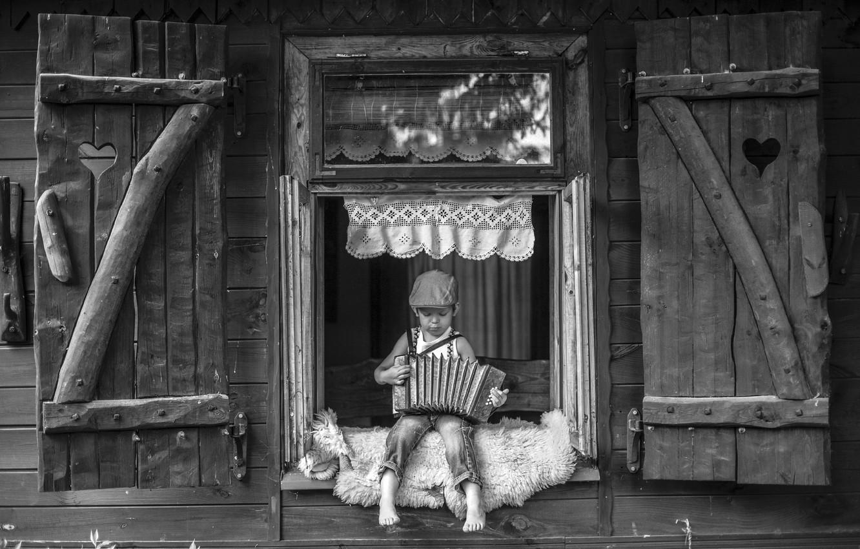 Photo wallpaper house, boy, accordion