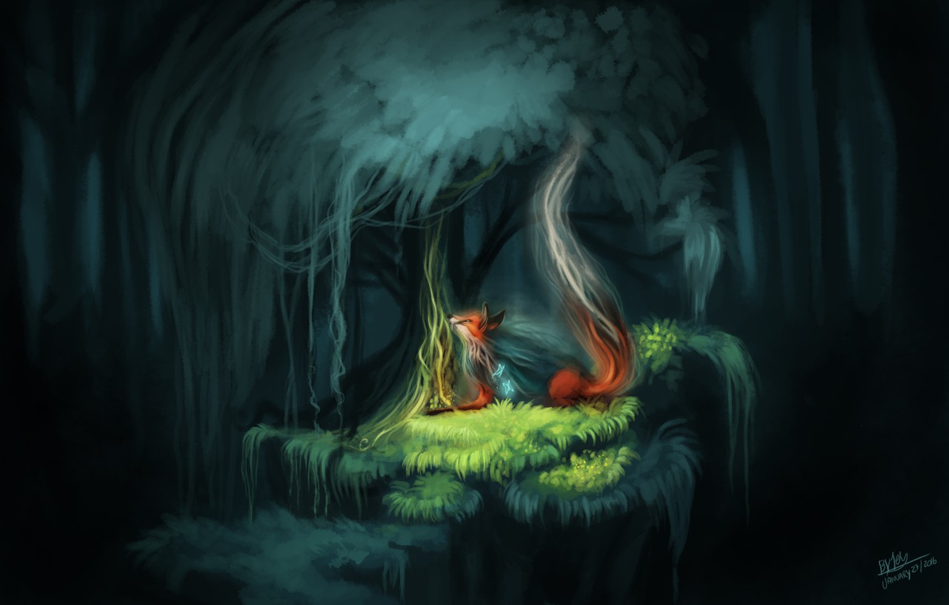 Wallpaper Forest Butterfly Nature Fantasy Fox By