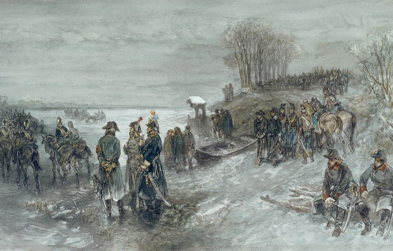 Photo wallpaper figure, watercolor, genre, Charles Rochussen, French Troops Crossed The Frozen River