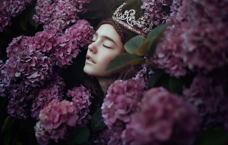 Photo wallpaper girl, flowers, face, mood, crown, hydrangea, Bella Kotak, A new day whispers
