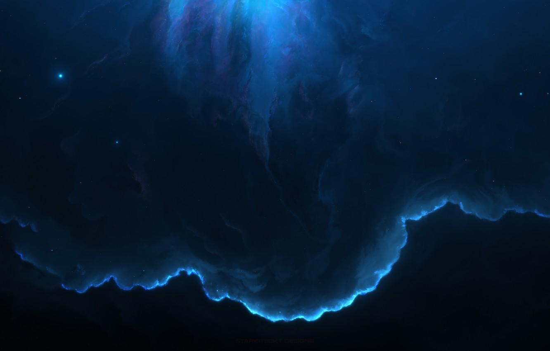 Wallpaper space, blue, nebula, Nebula