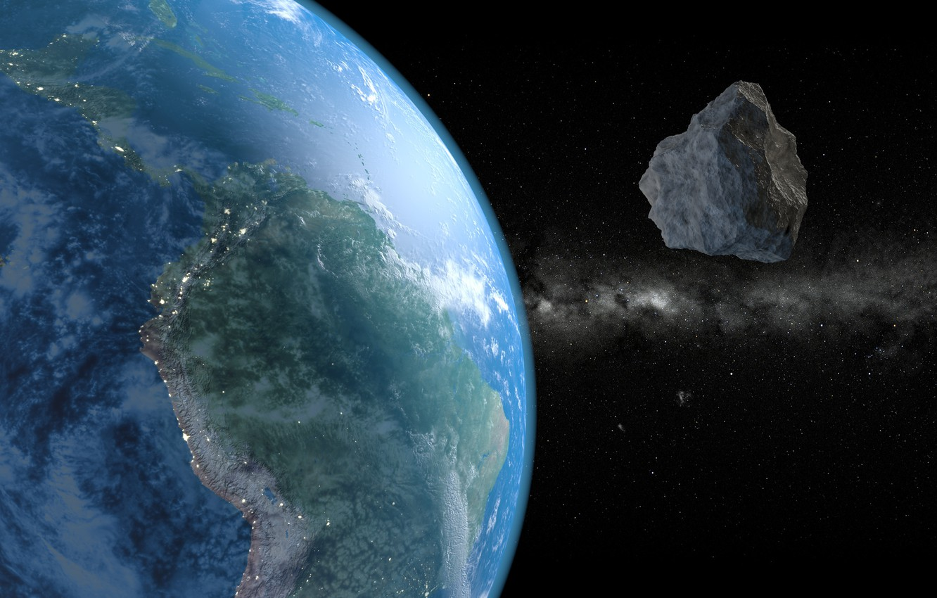 Photo wallpaper Space, Asteroids, Earth From Space