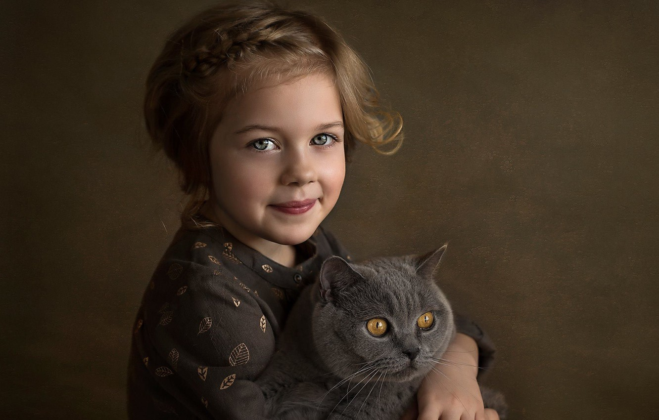 Photo wallpaper cat, look, face, smile, background, mood, girl