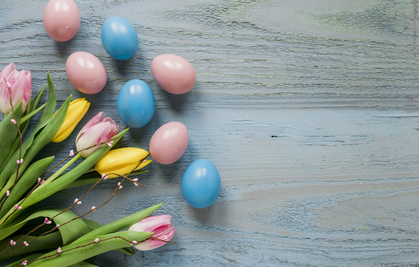 Photo wallpaper flowers, spring, yellow, Easter, tulips, pink, yellow, wood, pink, flowers, tulips, spring, Easter, eggs, decoration, …