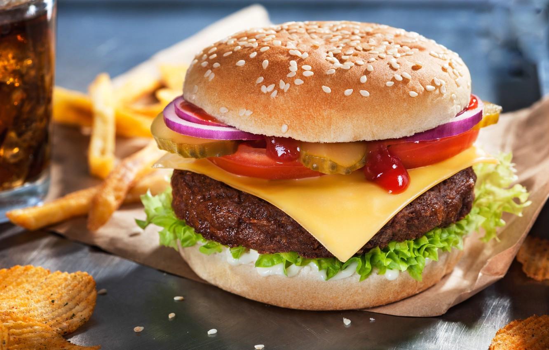 Photo wallpaper Greens, Cheese, Burger, Patty