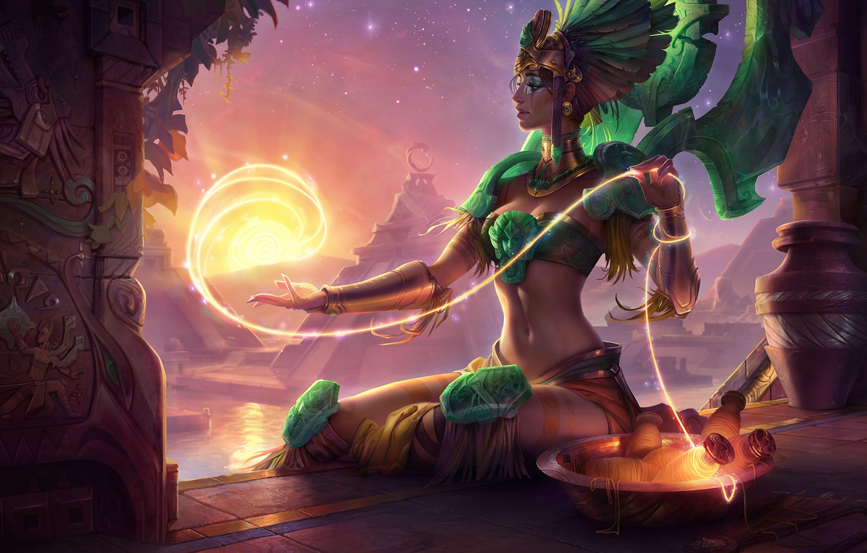 Photo wallpaper League of Legends, karma, god, Solar