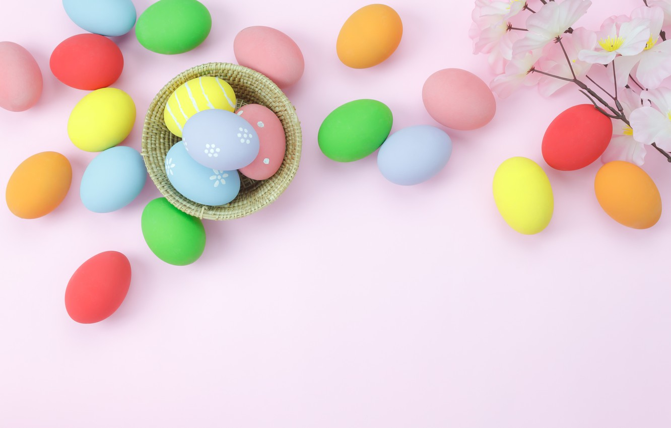 Photo wallpaper flowers, background, pink, eggs, spring, colorful, Easter, wood, pink, blossom, flowers, spring, Easter, eggs, decoration, …