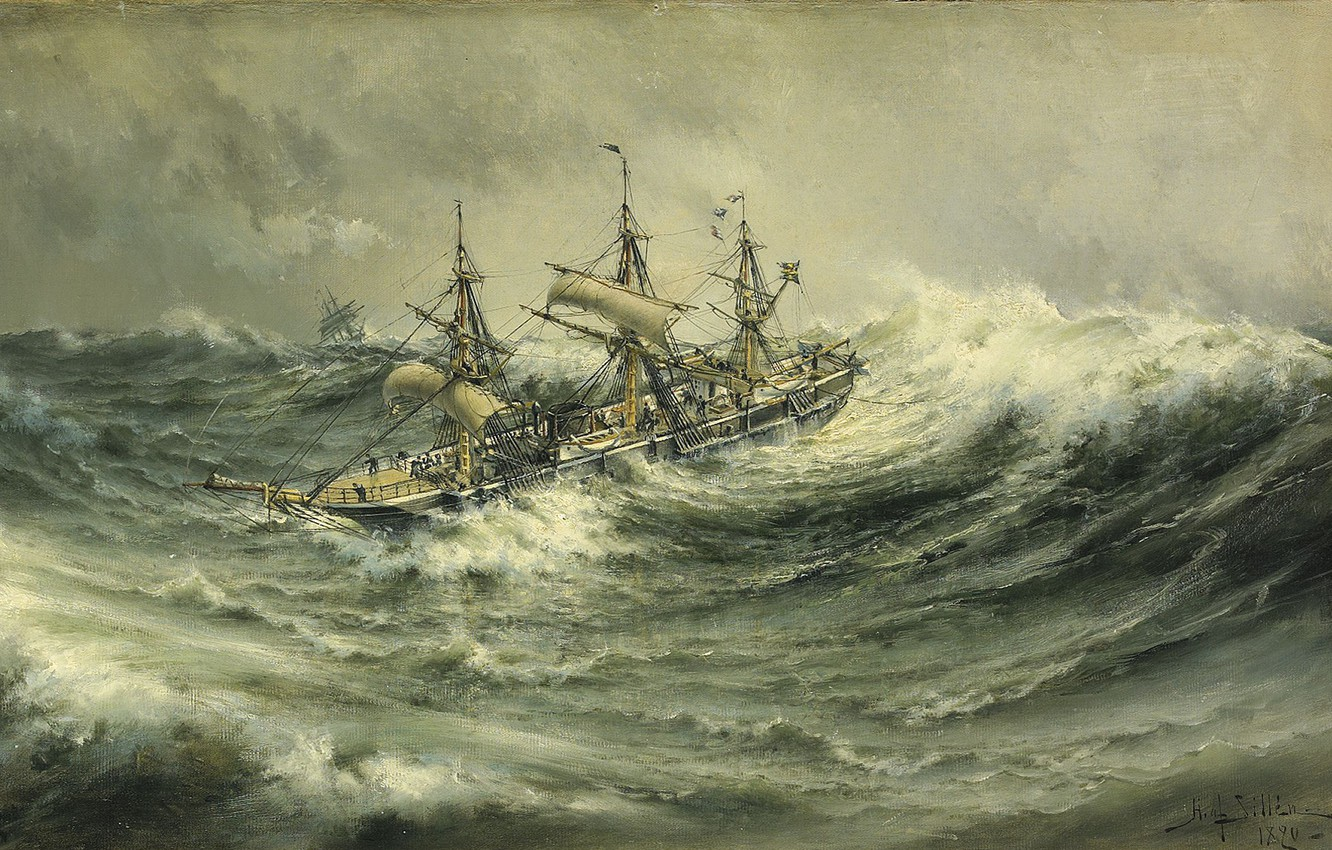 Photo wallpaper seascape, Herman Gustav Sillen, To live is celebrate, Black water., A ship in a storm