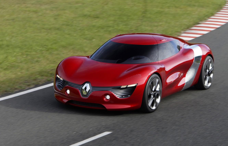 Photo wallpaper concept, Renault, red, supercar, asphalt, sports car, electric cars, Renault DeZir