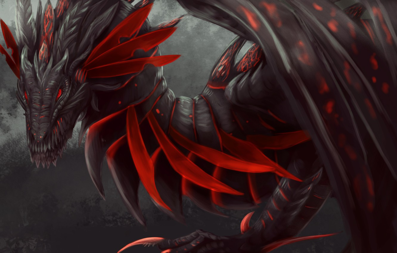 Photo wallpaper look, red, dragon, wings, paws, fantasy, art