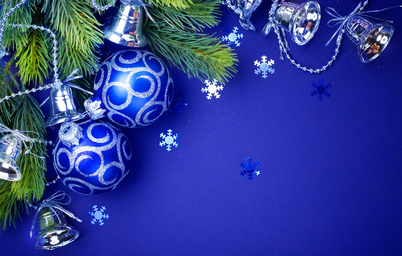 Photo wallpaper holiday, Balls, New year, beads, Decoration, bells, blue background, Fir-tree branches